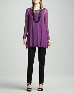 Eileen Fisher Airy Linear Long Tunic, Silk Jersey Long Tunic & Straight-Leg Ponte Pants, Women's