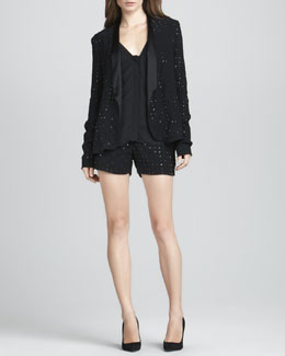 Diane von Furstenberg Paulette Hot-Fix Crystal Jacket, Lane Sheer-Sleeve Blouse & Naples Hot-Fix Crystal Shorts