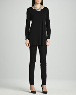 Eileen Fisher Silk Jersey Long-Sleeve Tunic & Stretch Ponte Skinny Jeans