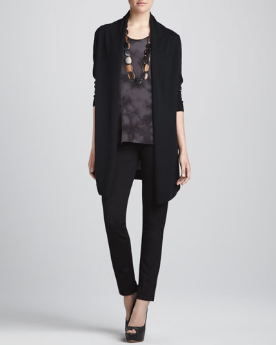 Eileen Fisher Long Silk-Back Cardigan, Silk Shibori Long Tank & Straight-Leg Ponte Pants, Women's