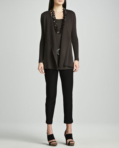 Eileen Fisher Sweater Jacket, Silk Jersey Tunic, Washable Tapered Ankle Pants & Italian Leather Ring Belt