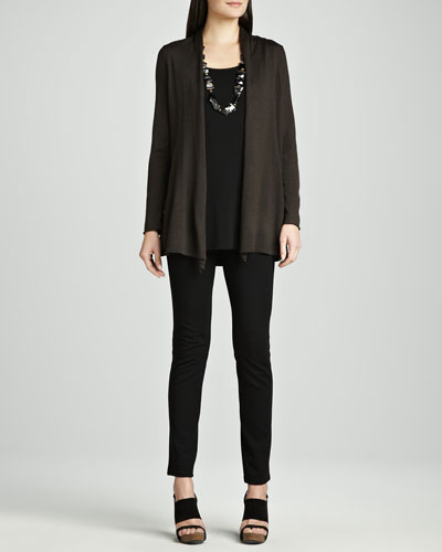Eileen Fisher Long Merino Cardigan, Silk Jersey Tunic & Stretch Ponte Skinny Jeans
