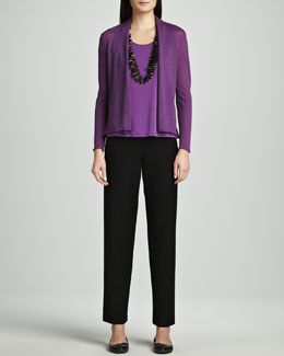 Eileen Fisher Washable Wool-Ribbed Cardigan, Silk Jersey Tank & Washable-Crepe Straight-Leg Pants