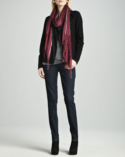 Eileen Fisher Boiled Wool Zip Jacket, Silk-Cotton Tee, Hazy Linen Weave Scarf & Soft Stretch Skinny Jeans