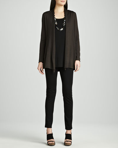 Eileen Fisher Long Merino Cardigan, Silk Jersey Tunic & Stretch Ponte Skinny Jeans, Women's