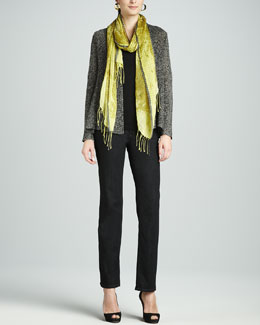 Eileen Fisher Multi-Tonal Flutter Cardigan, Slim Tank, Hazy Linen Weave Scarf & Straight-Leg Jeans