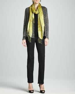Eileen Fisher Multi-Tonal Flutter Cardigan, Slim Tank, Hazy Linen Weave Scarf & Straight-Leg Jeans, Petite