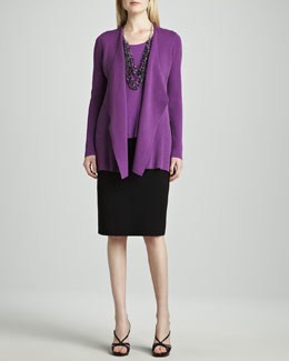 Eileen Fisher Silk-Cotton Interlock Sweater Jacket, Jersey Tank & Straight Skirt, Women's