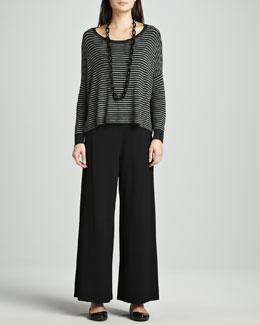 Eileen Fisher Cozy Striped Box Top & Washable Stretch Jersey Wide-Leg Pants