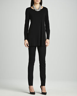 Eileen Fisher Silk Jersey Long-Sleeve Tunic & Stretch Ponte Skinny Jeans, Women's