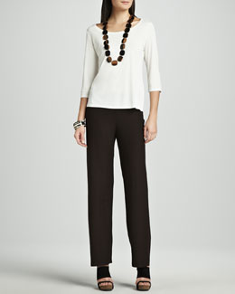 Eileen Fisher Silk Jersey Three-Quarter-Sleeve Top  & Washable-Crepe Straight-Leg Pants