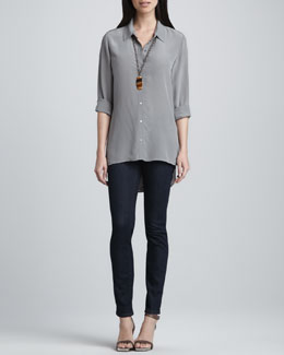 Eileen Fisher Silk Crepe de Chine Long-Sleeve Shirt & Soft Stretch Skinny Jeans