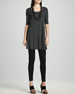 Eileen Fisher Viscose Jersey Tunic & Stretchy Jean Leggings