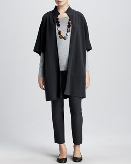 Eileen Fisher Stand-Collar Coat, Slub-Jersey Tee & Washable-Crepe Slim Ankle Pants