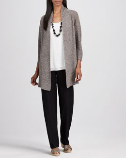 Eileen Fisher Long Linen-Mesh Cardigan & Washable-Crepe Straight-Leg Pants, Women's