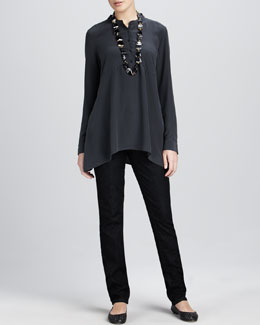 Eileen Fisher Crepe de Chine Boxy Shirt & Soft Denim Skinny Jeans