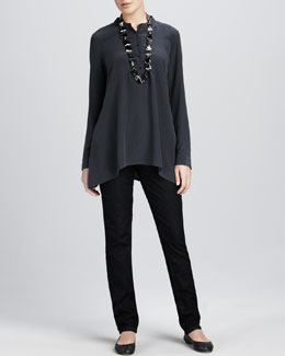 Eileen Fisher Crepe de Chine Boxy Shirt & Soft Denim Skinny Jeans, Women's
