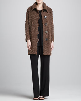 Caroline Rose Long Sweater Coat, Knit Long Tunic/Tank & Stretch-Knit Slim Pants