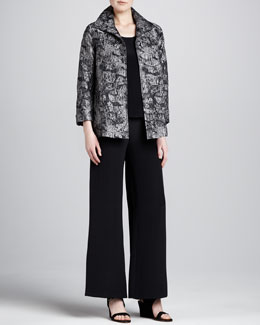 Caroline Rose Mystic Jacquard A-Line Jacket, Silk Crepe Tank & Wide-Leg Crepe Pants