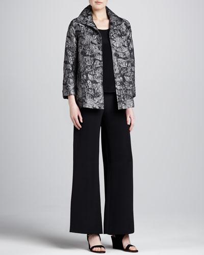 Caroline Rose Mystic Jacquard A-Line Jacket, Silk Crepe Tank & Wide-Leg Crepe Pants, Petite