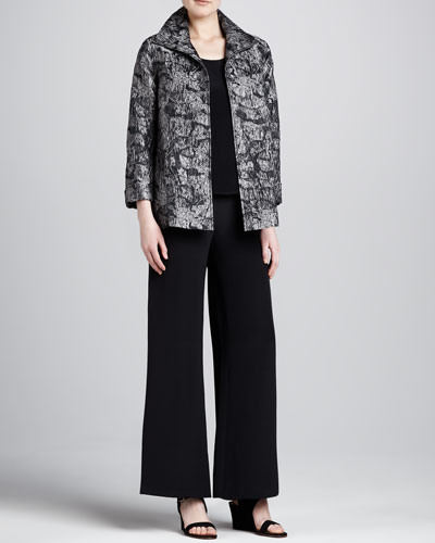 Caroline Rose Mystic Jacquard A-Line Jacket, Silk Crepe Tank & Wide-Leg Crepe Pants, Women's