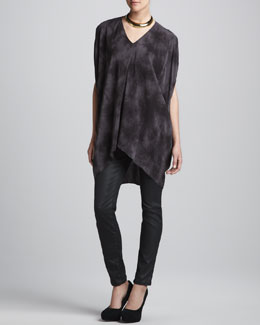 Eileen Fisher Crystalline Silk Tunic & Waxed Stretch Skinny Jeans, Women's