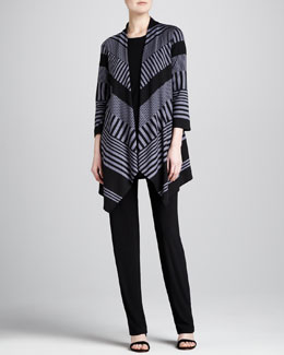 Caroline Rose Walk-the-Line Knit Jacket, Stretch-Knit Long Tank & Straight-Leg Stretch Pants