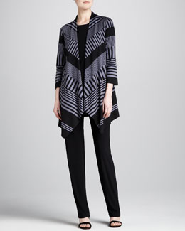 Caroline Rose Walk-the-Line Knit Jacket, Stretch-Knit Long Tank & Straight-Leg Stretch Pants, Women's