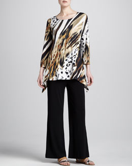 Caroline Rose Bronze Animal-Print Tunic & Stretch-Knit Wide-Leg Pants