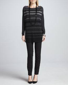 Eileen Fisher Tonal Striped Wool Tunic & Ponte Skinny Ankle Pants