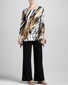 Caroline Rose Bronze Animal-Print Tunic & Stretch-Knit Wide-Leg Pants, Petite