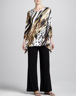 Caroline Rose Bronze Animal-Print Tunic & Stretch-Knit Wide-Leg Pants, Women's