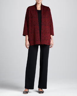Caroline Rose Baroque Jacquard Jacket, Flat-Knit Longer Tank & Flat Wool-Knit Pants, Women's