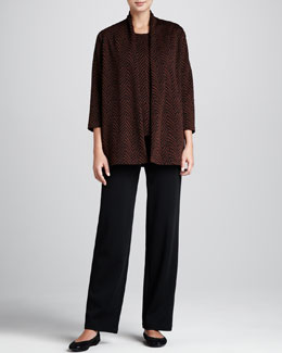 Caroline Rose Jungle Jacquard Easy Jacket, Long Tank & Wool Flat-Knit Pants