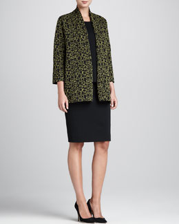 Caroline Rose Abstract Squares Jacket, Flat-Knit Longer Tank & Flat-Knit Wool Skirt