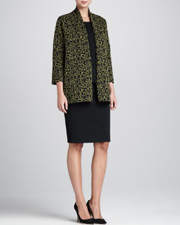 Caroline Rose Abstract Squares Jacket, Flat-Knit Longer Tank & Flat-Knit Wool Skirt, Women's