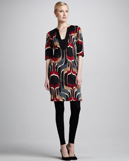 Melissa Masse Printed Ponte Tunic Dress & Jersey Leggings