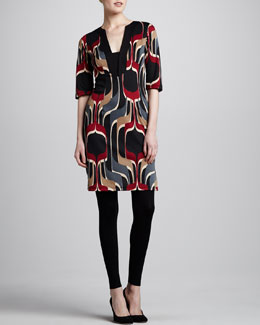 Melissa Masse Printed Ponte Tunic Dress & Leggings, Women's