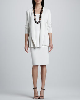 Eileen Fisher Silk-Cotton Interlock Sweater Jacket, Jersey Long Tunic & Straight Skirt