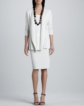 Silk-Cotton Interlock Sweater Jacket, Jersey Long Tunic & Straight Skirt, ...