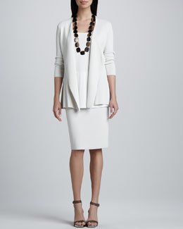 Eileen Fisher Silk-Cotton Interlock Sweater Jacket, Jersey Long Tunic & Straight Skirt, Women's