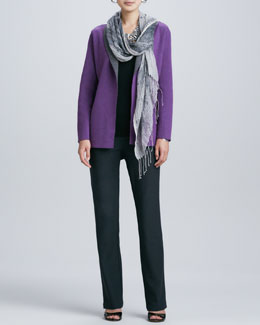Eileen Fisher Contrast-Facing Felted Merino Jacket, Slim Tank, Boot-Cut Pants & Hazy Linen Weave Scarf