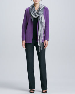 Eileen Fisher Contrast-Facing Felted Merino Jacket, Slim Tank, Boot-Cut Pants & Hazy Linen Weave Scarf, Petite