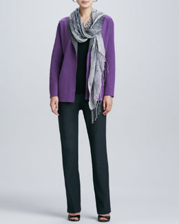 Eileen Fisher Contrast-Facing Felted Merino Jacket, Slim Tank, Boot-Cut Pants & Hazy Linen Weave Scarf, Women's