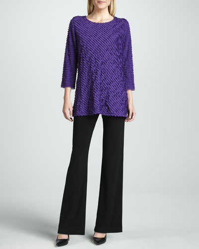 Caroline Rose Bias-Ruffled Knit Tunic & Knit Straight-Leg Pants