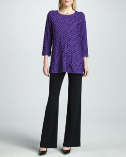 Caroline Rose Bias-Ruffled Knit Tunic & Knit Straight-Leg Pants, Petite