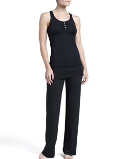 Splendid Intimates Shirred Racerback Tank & Fold-Over Pants