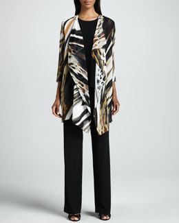 Caroline Rose Animal-Print Georgette Jacket, Stretch-Knit Long Tank & Knit Straight-Leg Pants