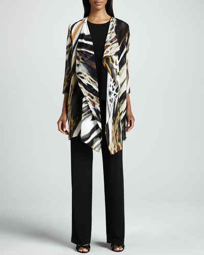 Caroline Rose Animal-Print Georgette Jacket, Stretch-Knit Long Tank & Knit Straight-Leg Pants, Women's
