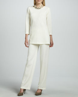 Caroline Rose Ottoman Knit Tunic & Flat Wool-Knit Pants